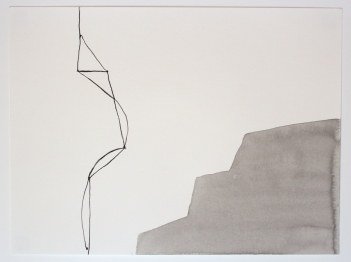 Falaise. 2015. Encre et lavis sur papier à aquarelle. 114 x 152 cm / 45 x 60 pouces. Photo: Nélanne Perron-Racine