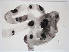 La pratique des trajets: ruban moucheté. 2013. Encre de Chine sur papier à aquarelle. 114 x 152 cm / 45 x 60 pouces. Photo: Nélanne Perron-Racine